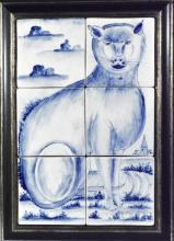 Dutch Makkum Tin-glazed Earthenware Tile Picture of a Cat
