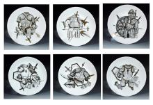 Vintage Piero Fornasetti Set of Six Plates with Coats of Armour