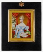 English Portrait Miniature of a Young Woman Holding Sheet Music