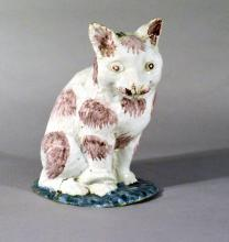 Brussels Faience Model of a Cat, Philippe Mombaers for the Rue de Laeken factory Circa 1765-85.