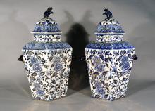 Pair of Large Mason or Ashworth Hexagonal Ironstone Vases & Covers, Circa 1840