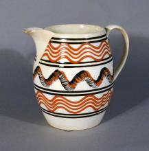 English Pottery Creamware Mocha Jug, Early 19th Century.