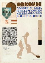 Poster by Jo (Josephus Alphonsus) Schrijnder - Oorkonde Nederlandschen Kolfbond Grootebroek