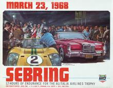 Poster by Michael Turner - Sebring 12 hours endurance for the Alitalia Airlines Trophy 1968