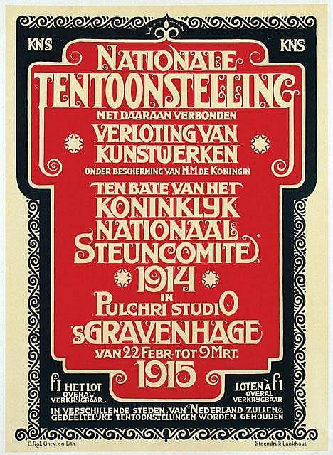 Poster by Cornelis Rol  - Nationale Tentoonstelling ten bate van het Koninklijke Nationaal Steuncomite 's Gravenhage