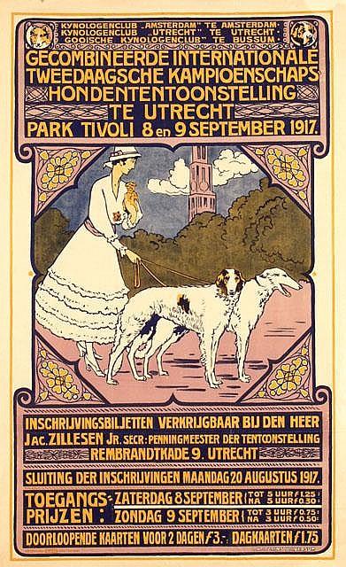 Poster by Leendert K.C. Prins - Gecombineerde Internationale Tweedaagsche Kampioenschaps-Hondententoonstelling te Utrecht