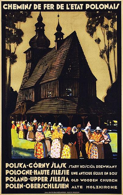 Poster by Stefan Norblin - Poland-Upper Silesia old wooden church
