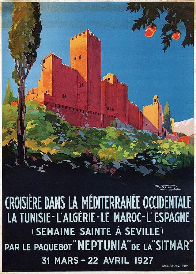 Poster by Giulio Ferrari - Croisière dans le Méditerranée Occidentale