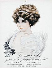 Poster by Maurice Milliere - Midina Frisette. Je suis jolie grâce aux épingles à onduler