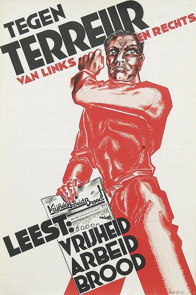 Poster by Huib B.W. de Ru - Tegen Terreur van links en rechts