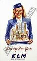 [ Poster ] Joop van Heusden (1920) KLM Serving New York 60x100, 1948 pr.Offsetdruk Kuhn & Zoon Rotterdam, on cardboard B+, Joop