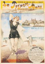 Poster by H. Gray - Chemins de Fer du Nord et de L'Ouest Le Tréport Mers Grand Casino Belle Plage