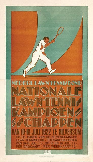 Poster by Louis C. Kalff - Nationale Lawn-Tennis Kampioenschappen Hilversum