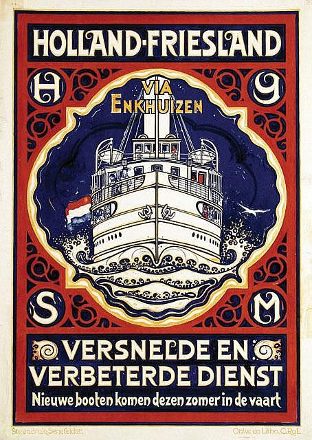 Poster by Cornelis Rol - Holland-Friesland via Enkhuizen
