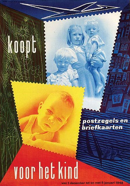Poster by Wim Brusse - koopt postzegels voor het kind