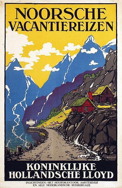 Poster by Albert Hemelman - Koninklijke Hollandsche Lloyd Noorsche Vacantiereizen
