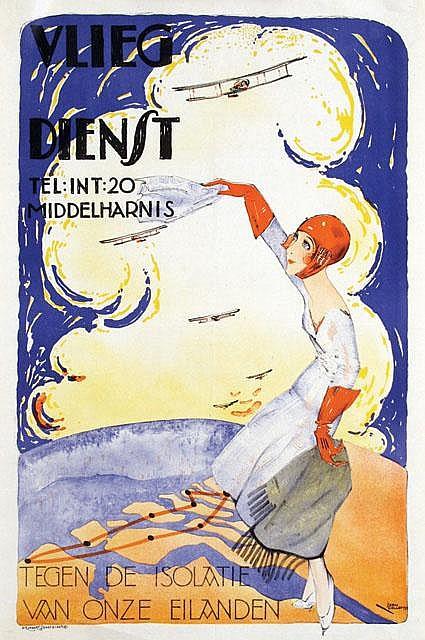 Poster by Joan Collette - Vlieg Dienst Middelharnis
