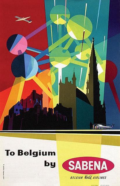 Poster by  Eynde, G. vanden & C. Pub, (Commerciale Publicité) - To Belgium by Sabena