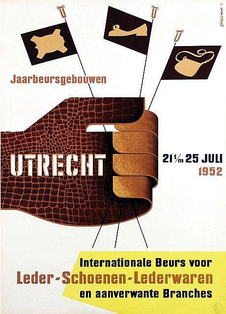 Poster by Hans  Bolleman - Internationale Beurs voor Leder-Schoenen-Lederwaren Utrecht