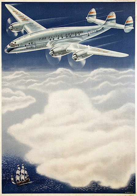 Poster by Paul C. Erkelens - before text, (KLM The Flying Dutchman)