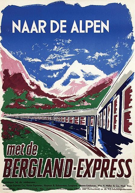 Poster by Jan de Haan - Naar de Alpen met de Bergland-Express