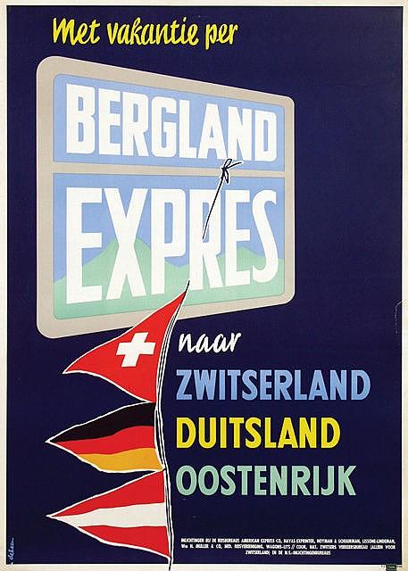 Poster by Jan de Haan - Bergland Expres naar Zwitserland Duitsland Oostenrijk