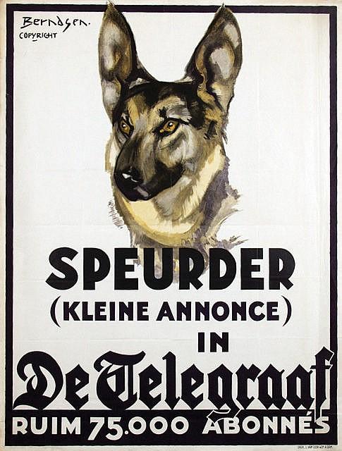 Poster by Johan T. Berndsen - De Telegraaf Speurder (kleine annonce)