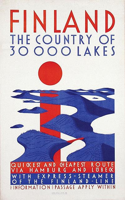 Poster by Alfred Mahlau - Finland The Country of 30000 Lakes
