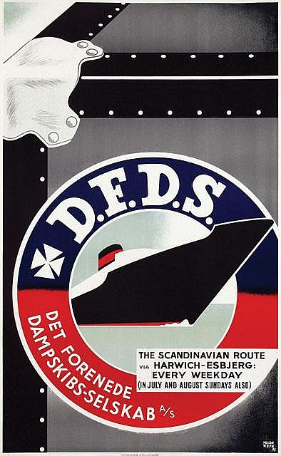 Poster by Helge Refn - D.F.D.S. The Scandinavian Route