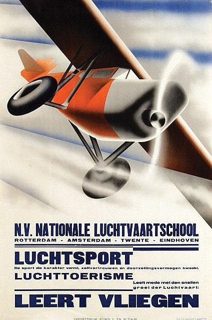 Poster by Kees van der Laan - Leert Vliegen Nat. Luchtvaartschool