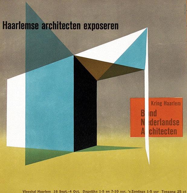 Poster by Otto Treumann - Haarlemsche architecten exposeren