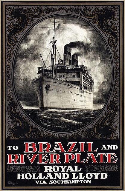 Poster by Albert Hemelman - Royal Holland Lloyd To Brazil and River Plate