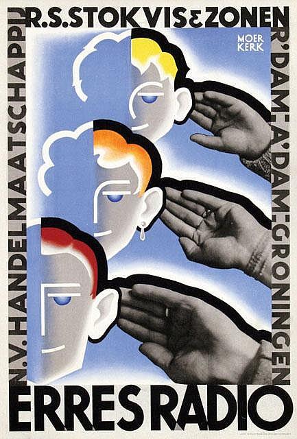 Poster by Herman Moerkerk - Erres Radio, R.S. Stokvis & Zonen