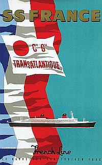 Poster by Jean Jacquelin - SS France French Line