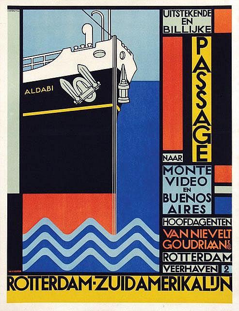 Poster by Willem H. Gispen - Rotterdam-Zuidamerikalijn Van Nievelt Goudriaan  &  Co. Stoomvaart Maatschappij