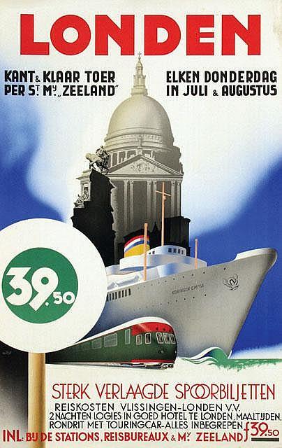 Poster by Adrianus J. van 't Hoff - Londen Sterk Verlaagde Spoorbiljetten