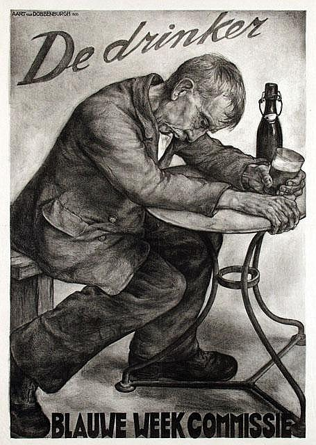 Poster by Aart van Dobbenburgh - De drinker