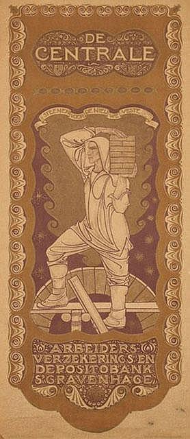 Poster by Richard N. Roland Holst - De Centrale Arbeiders-verzekerings en Depositobank 's Gravenhage