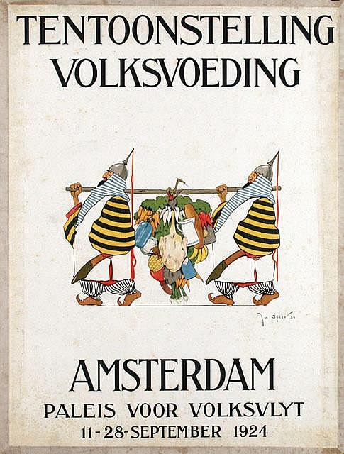 Poster by Jo Spier - Tentoonstelling Volksvoeding Amsterdam