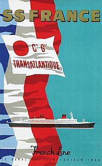Posters (2) by Jean Jacquelin - SS France French Line