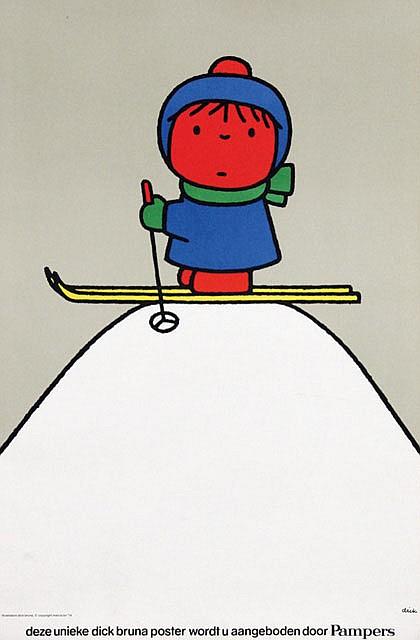 Poster by Dick Bruna - Pampers Ski