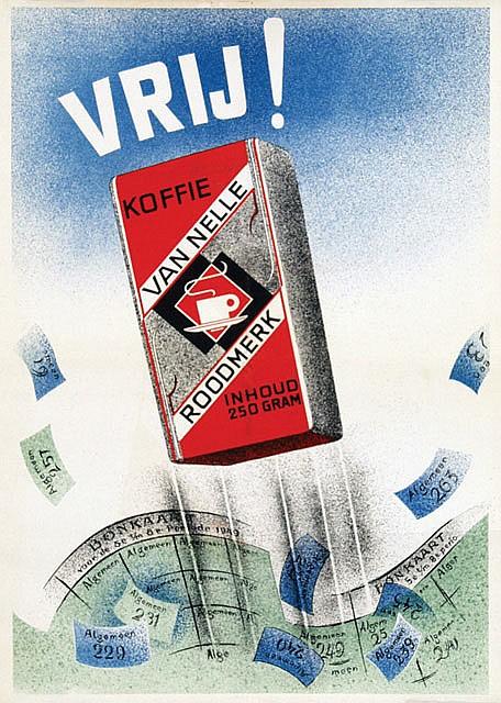 Poster by Pieter den Besten - Van Nelle Koffie Vrij!
