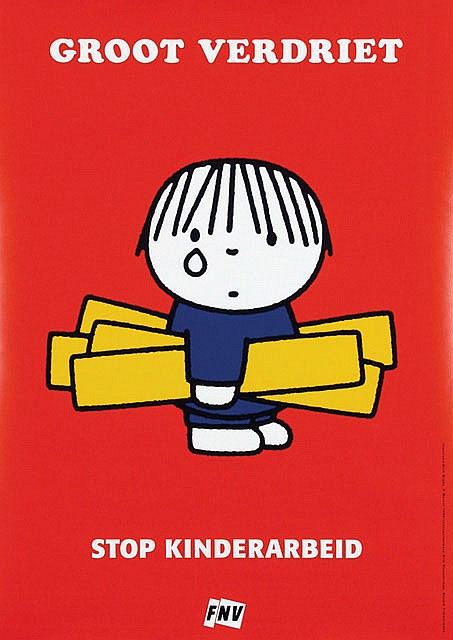 Poster by Dick Bruna - Groot Verdriet. Stop Kinderarbeid. FNV