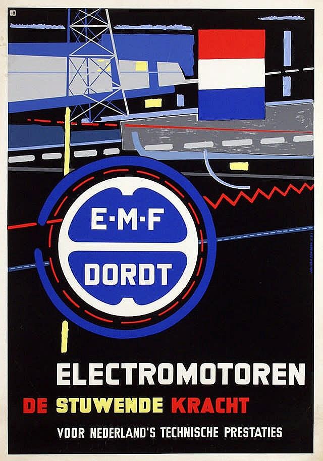 Poster by Jan van den Berg - E.M.F. Dordt Electromotoren