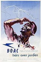 Poster by Harold Forster - BOAC England-Syoafrika tvärs over jorden (Danish) (crossing the world )