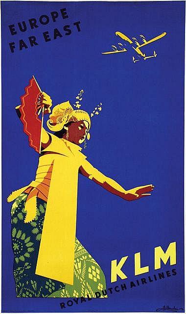 Poster by Joop van Heusden - KLM Europe Far East