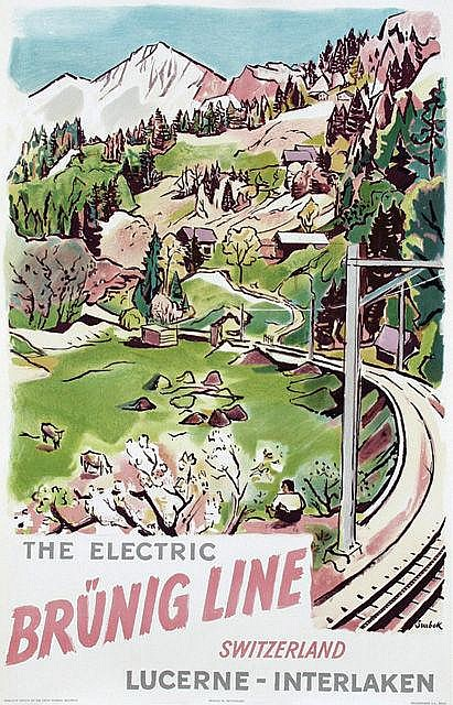 Poster by Victor Surbek - The Electric Brünig Line