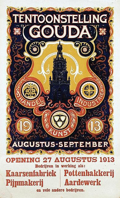 Poster by Cornelis Rol - Tentoonstelling Handel Kunst Industrie Gouda
