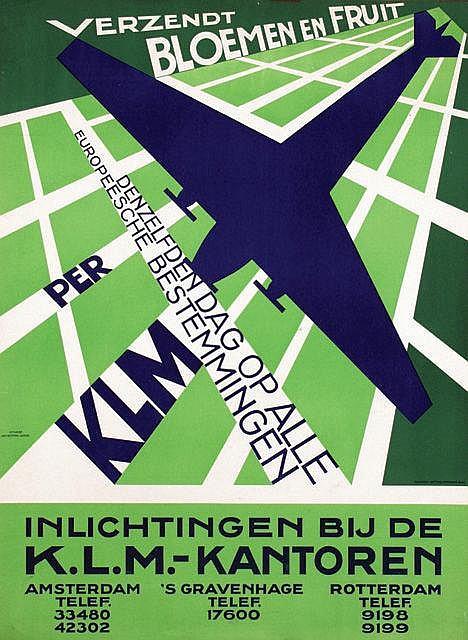 Poster by Jan Kotting - Verzendt Bloemen en Fruit per KLM