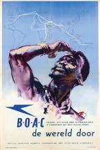 Poster by Harold Forster - BOAC Engeland-Zuid Afrika de wereld door